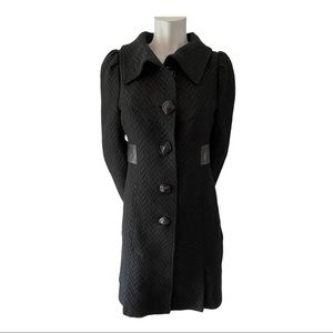 Mackage Black Wool Blend Coat with Leather Trim M